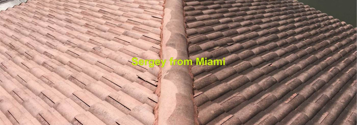 Low pressure washes of roofs in Miami, soft washes of roofs