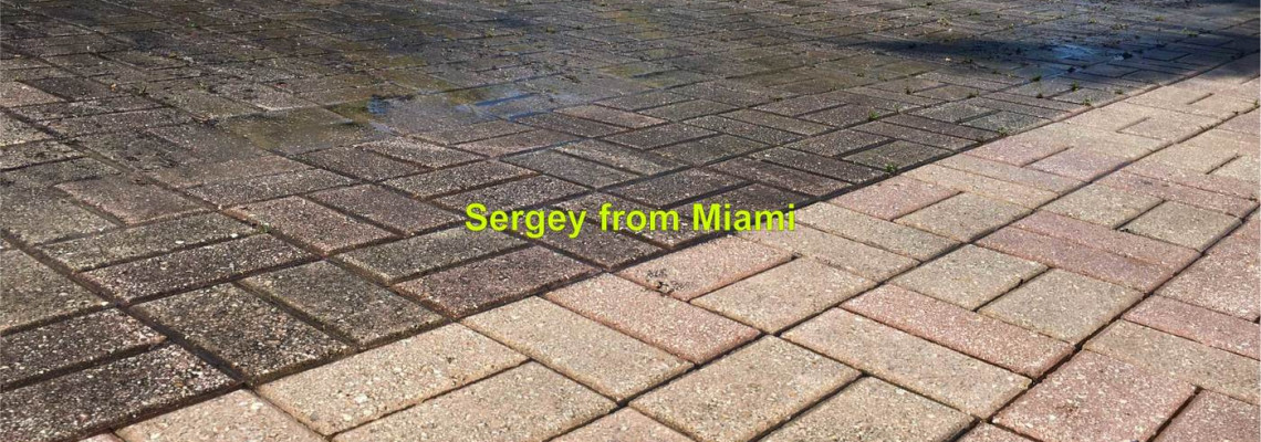 Pressure cleaning of the court, driveway, sidewalk, and walkway in Ocean Blvd, Golden Beach, FL 33160