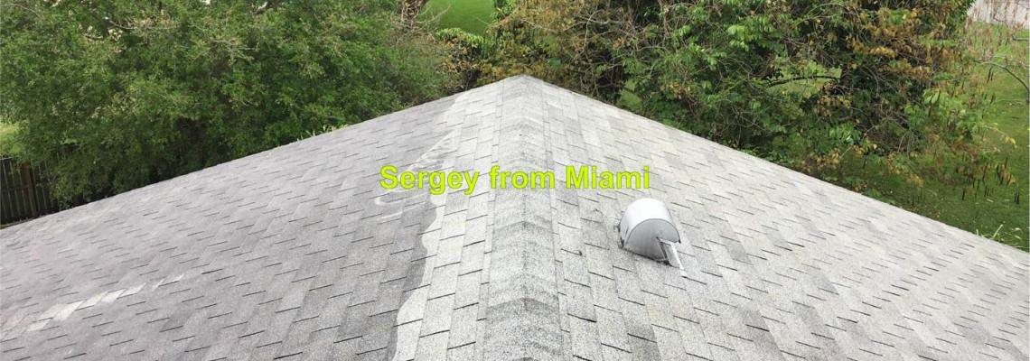 Pressure cleaning of the roof and gutters at 151st Terrace, Sunrise, FL 33326