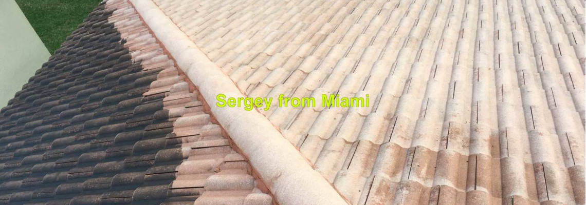 Pressure washing of the roof, gutters and driveway at 49th St, Coconut Creek, FL 33073