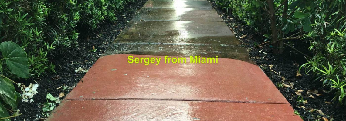 Pressure cleaning of the house, exterior walls & walkway at Atlantic Way, Miami Beach, FL 33141