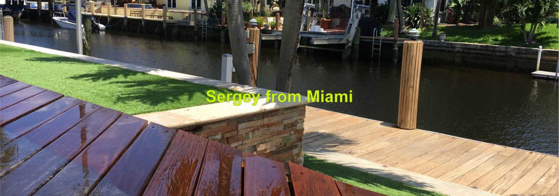 Pressure washing of wood deck and wood dock in Pompano Beach, Florida 33060